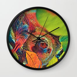 AnimalColor_Sloth_001_by_JAMColors Wall Clock