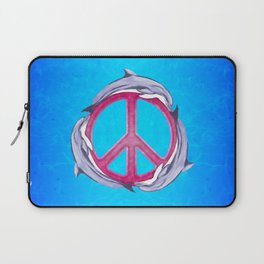 Dolphin Peace Pink Laptop Sleeve