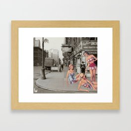 chilling on the way Framed Art Print