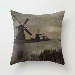 Windmills at Kinderdijk Holland Throw Pillow