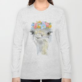 Ostrich Floral Watercolor Painting Nursery Art Long Sleeve T-shirt