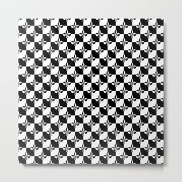 Black and White Checkerboard Checked Squares with French Fleur de Lis Metal Print