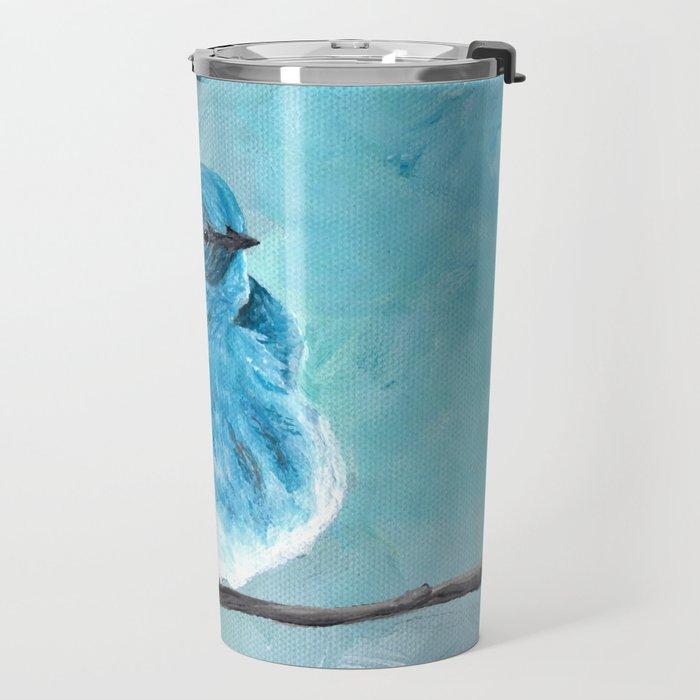 Mountain Bluebird Acrylic Art, Blue Bird Painting, Bird on a Branch, Wall Art, Fluffy Bird Travel Mug