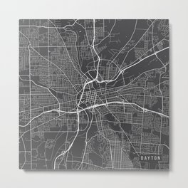 Dayton Map, USA - Gray Metal Print