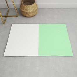White and Mint Green Horizontal Halves Rug