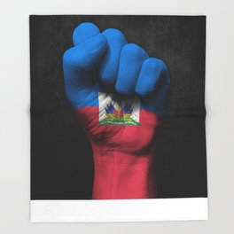 Haitian Flag on a Raised Clenched Fist Throw Blanket