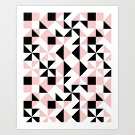 Eva - rose quartz quilt squares hipster retro geometric minimal abstract pattern print black pink Art Print