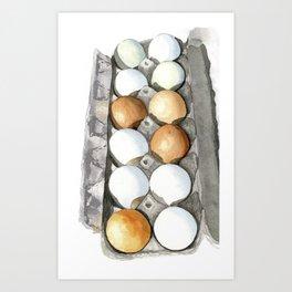 Eggs in carton Art Print