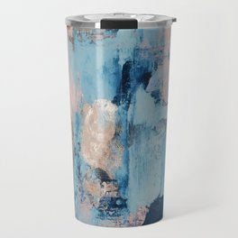 Sunbeam: a pretty abstract painting in pink, blue, and gold by Alyssa Hamilton Art Travel Mug