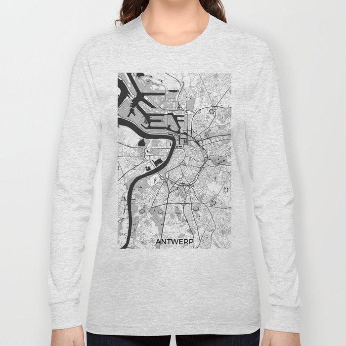 Antwerp Map Gray Long Sleeve T-shirt