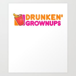 Drunken Grownups Drunkin Party Vintage Dad Funny Gift Art Print