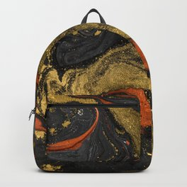 Abstract Pour Painting Liquid Marble Black Orange Painting Gold Accent Backpack