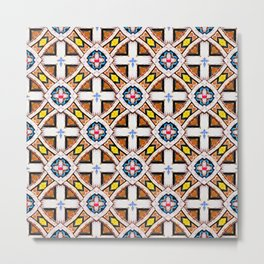 Wooden Criss-Cross Screen Pattern Metal Print