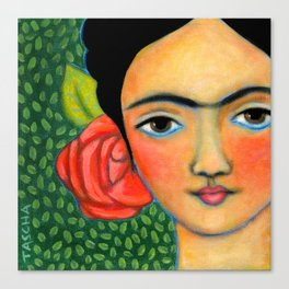 Frida with red flower and green leaf background Canvas Print