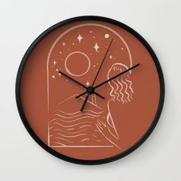 Abstraction Outline moon star Window woman  Wall Clock