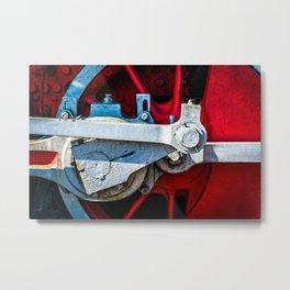 Red Wheel Of A Vintage Steam Locomotive Metal Print