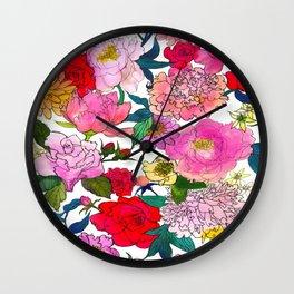 Peonies & Roses Wall Clock