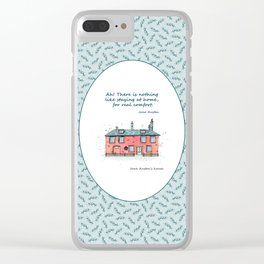 Jane Austen house and quote Clear iPhone Case