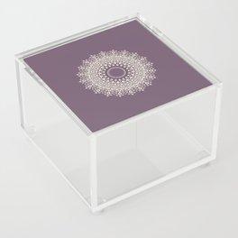 Mandala in Mulberry and White Acrylic Box