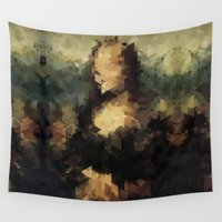 mona lisa Wall Tapestries featuring Panelscape Iconic - Mona Lisa by ⊙ Paolo Tonon