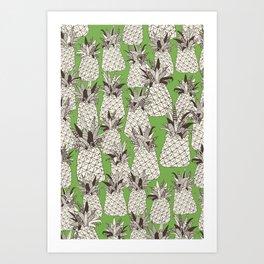 pineapple palm green Art Print