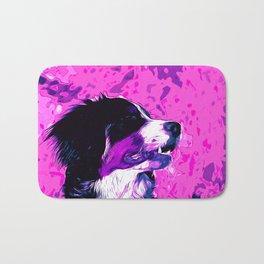 bernese mountain dog vector art purple pink Bath Mat