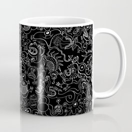 Crazy monsters in a crowded pattern Coffee Mug