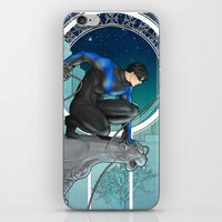 nightwing iPhone & iPod Skins featuring Nightwing Nouveau by stoopz