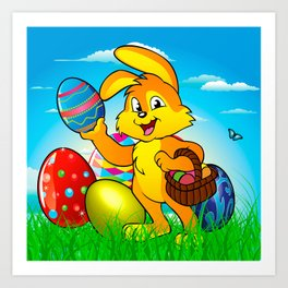 Easter bunny rabbit with Easter basket Art Print