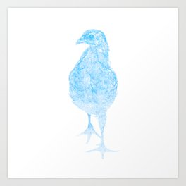 chick drawing, blue Art Print