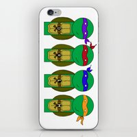 teenage mutant ninja turtles iPhone & iPod Skins featuring Teenage Mutant Ninja Turtles by Jen Talley