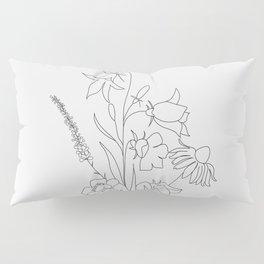 Small Wildflowers Minimalist Line Art Pillow Sham