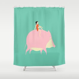 The boy on the Pig (green) Shower Curtain