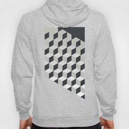 Gradient Cubes – Ebony Black / Warm Gray Abstract Print Hoody