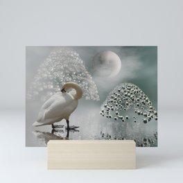 yinyang moon Mini Art Print