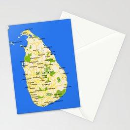 Sri Lanka Map Design Stationery Cards