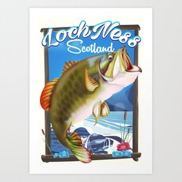 Loch Ness Scotland Fishing travel poster Art Print