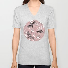 Flowers and Flight in Monochrome Rose Pink Unisex V-Neck