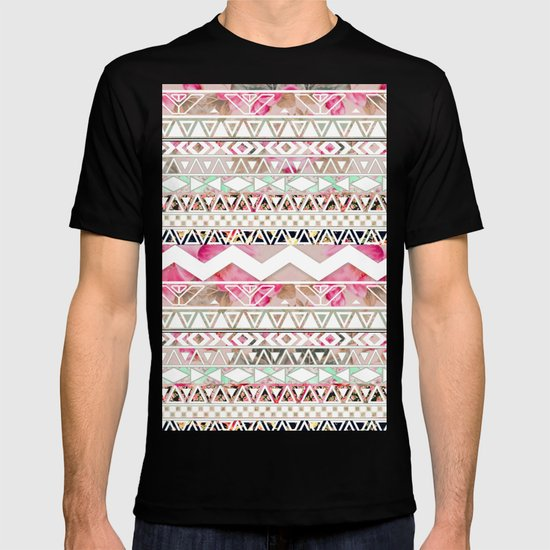 Aztec Spring Time! | Girly Pink White Floral Abstract Aztec Pattern T-shirt