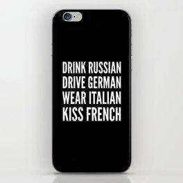 Russian German Italian French (Black & White) iPhone Skin