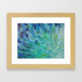 SEA SCALES - Beautiful Ocean Theme Peacock Feathers Mermaid Fins Waves Blue Teal Color Abstract Framed Art Print