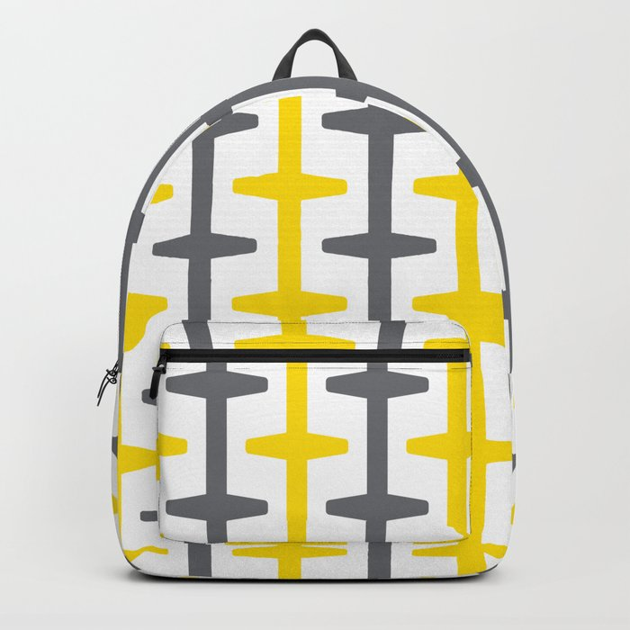 Geometric Pattern 209 (yellow gray) Backpack