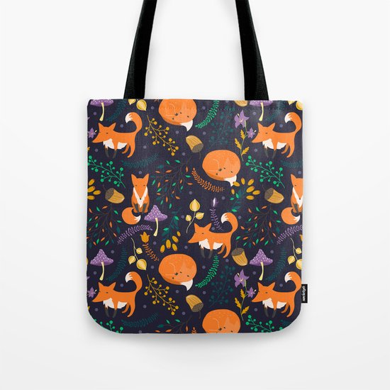 Foxes in magic forest Tote Bag