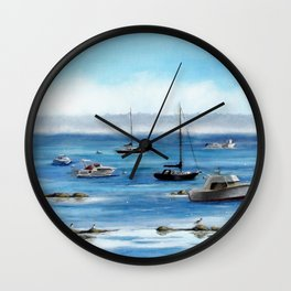 Boats Bobbing on Belfast Bay Wall Clock