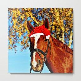 HoHoHo Horse Metal Print