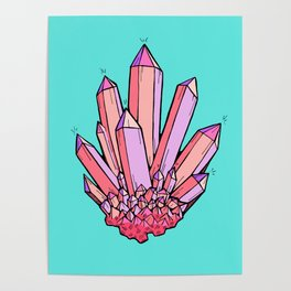 Crystal Cluster- Pink & Mint Poster