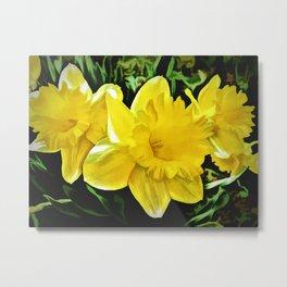 The Yellow Daffodil Happy Easter Metal Print