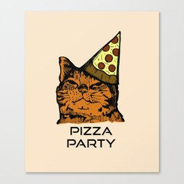 Pizza Party Cat: Funny Animal Kitty Canvas Print
