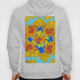 Turquoise-gold Sunflowers Leaves Pattern Abstract Hoody