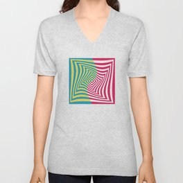 Colorful distorted Optical illusion art Unisex V-Neck